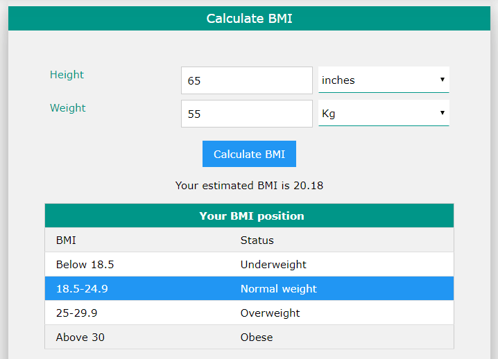 correct calculation of bmi